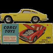 Boxed Corgi 218 Aston Martin DB4 1960-62 Spun Hubs VN MIB