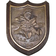 Bronze Ships Badge From USS Ajax AR-6 Repair Ship 1943-1997