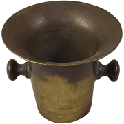18th Century Bronze Mortar With Handles And Banding