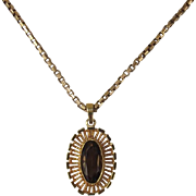 Unusual Vintage 9 Ct Gold Smokey Quartz Pendant and Chain Necklace