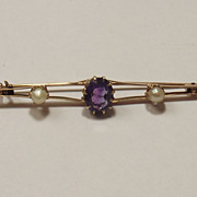 Victorian 9 Ct Yellow Gold 3.5 Ct Amethyst & Pearl Bar Brooch, 5g