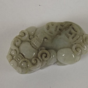 Qing Period White & Green Nephrite Jade Pixiu Dragon Coin Pendant