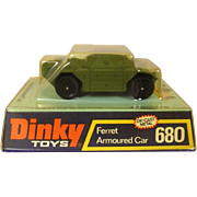 Dinky Toys No. 680 Green Version Ferret Armoured Car, Boxed #3