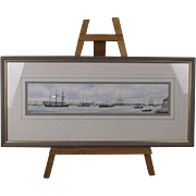 Colin Baxter Watercolour, A 1902 View of Portsmouth Harbour, With HMS Victory & Vincent