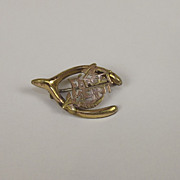 Victorian 9ct Gold Wishbone 'Forget Me Not' Pin Brooch