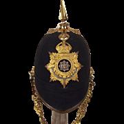Edwardian Cheshire Regiment Spiked Black Cloth Helmet