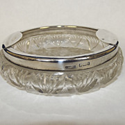 Birmingham 1905 Silver Rim Cut Glass Ashtray