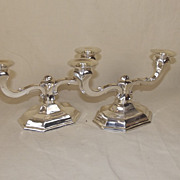 A Pair Of Modern Sterling Silver Two Light Candlesticks, 605 g (Weighted Bases)