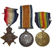 British WW1 1914 Medal Trio Petty Officer A. A. Mouncer Royal Navy