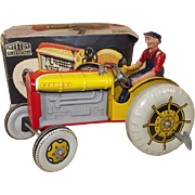 Boxed Mettoy Tinplate Clockwork Mechanical Tractor With Driver & Key