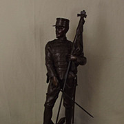 """Au Drapeau"" - The Flag - Original 1890's French Bronze Officer By H. Giraud"