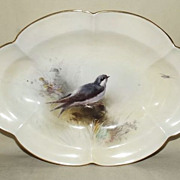 Royal Worcester Oval Dish Decorated With Swallow by James Stinton 1916