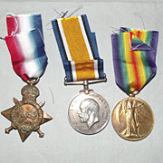 WW1 1914/15 Star Medal Trio - G-3396 Pte G.E. Perry, The Queen's Regiment