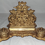 Ornate Victorian Gilt Brass Double Ink Well & Letter Stand