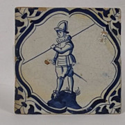 17th Century Pike Man Dutch Delft Tile