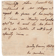 Letter By Admiral Lord Nelson's Wife Francis Circa 1820
