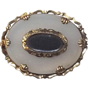 Antique Victorian 9 Ct Gold Agate Mourning Brooch