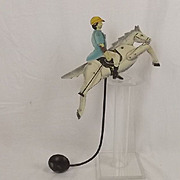 1920's Jockey & Horse Steel & Lead  Balancing Toy