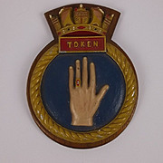 HMS Token (P328) Wood Mounted Metal Submarine Badge