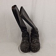Pair Of 19th Century Black Leather Cavalry Boots
