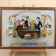"1886 Schmidt & Co ""Club Friends"" Cigar Glass Painted Advert, NYC"