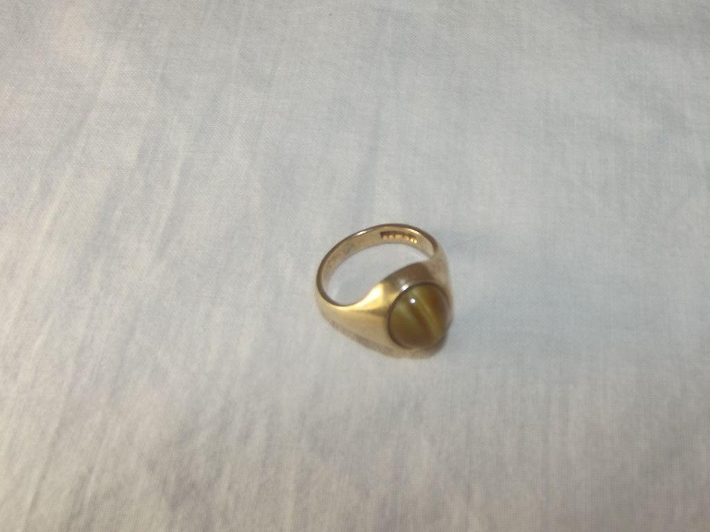 Chunky Vintage 9ct Gold 4ct Amber Ring Size P ½ (US 7 3/4)