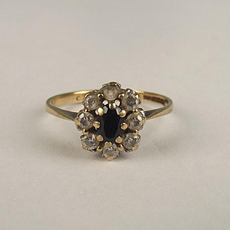 9ct Yellow Gold Sapphire & Cubic Zirconia Flower Head Ring UK Size L + US 6