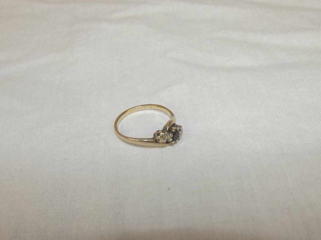 9ct Gold Twisted Band 0.15ct Sapphire & 0.02 CTW Diamond Ring Size N US 6 ¾