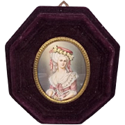 Very Fine Miniature Portrait Of Maria Luisa of Savoy, c1830