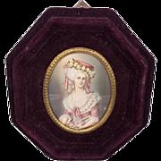Very Fine Miniature Portrait Of Maria Luisa of Savoy, c1830
