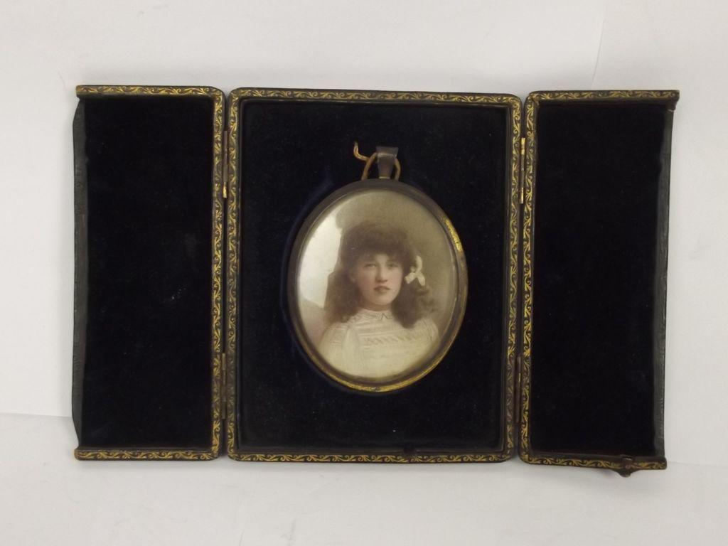 Cased Late Victorian Oval Portrait Painting Of A Young Girl