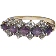 9ct Gold Amethyst & Glass Half Eternity Ring UK Size M US Size 6 ¼