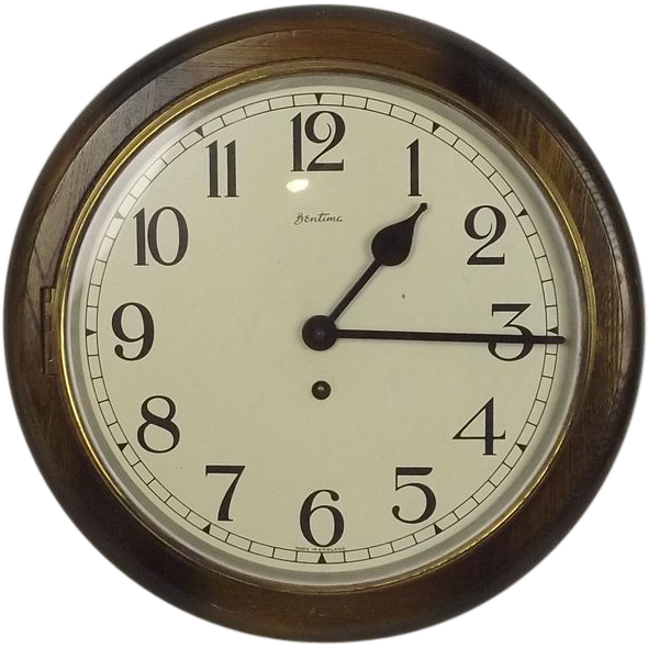 1940 S Bentima Round Wall Dial School Clock From