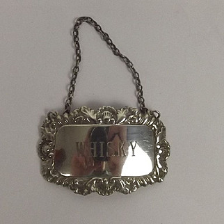Silver Whisky Decanter Label Sheffield 1981