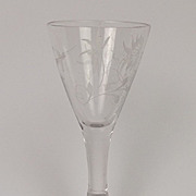Circa 1815 Etched Funnel Crane Bird Cordial Glass