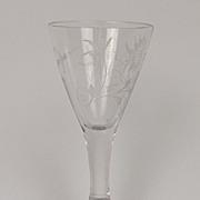 Circa 1815 Etched Funnel Crane Bird Cordial Glass