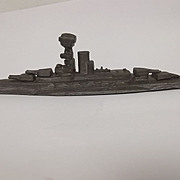Circa WW2 Lead Battleship Made On Board