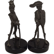 C1880 Pair Of French Spelter George Clemenceau & Raymond Poincaré Caricature