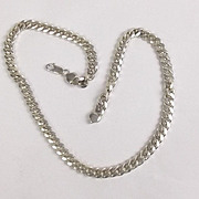 Chunky Silver Curb Necklace Chain, 98.7 g