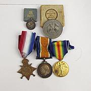 WW1 1914/15 RMLI Trio Medal Set & Silver Jutland Medal & Miniature