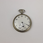c1950 CYMA Steel Vintage Top Wind Pocket Watch