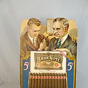 Bank Note Cigars Cardboard Countertop Shop Advertising Sign c1930's