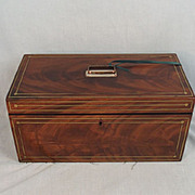 19th Century Brass Bound Flame Mahogany Tea Caddy