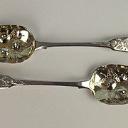 Pair Of George III London 1814 Embossed Silver Berry Spoons