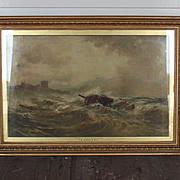 IImposing Derelict Off Bamburgh Castle Oil Painting By Thomas Bush Hardy