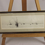 Spithead – Destroyer Entering Portsmouth Drypoint Etching By Rowland Langmaid