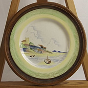 Clarice Cliff Crayon Scene Pattern Wall Plate Circa 1934