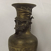 19th Century Chinese Bronze Dragon Vases