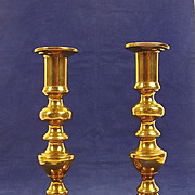 Pair Of Georgian Turned Brass Ejector Candlesticks #3