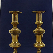 Pair Of Georgian Turned Brass Ejector Candlesticks #2
